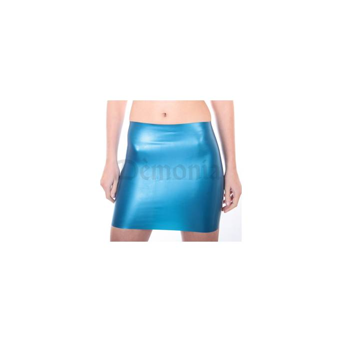 MINI JUPE EN LATEX BLEU
