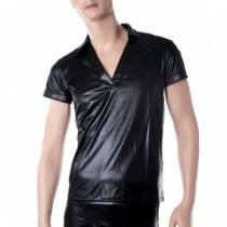 TSHIRT WETLOOK COL V HOMME