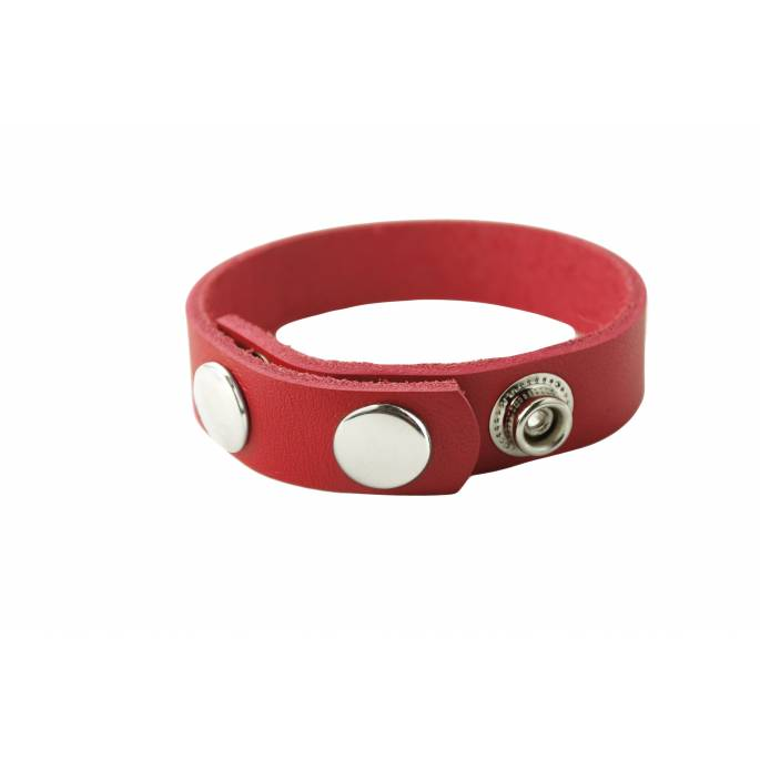 COCKRING CUIR 3 PRESSIONS ROUGE