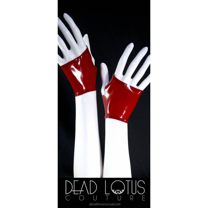 MITAINES LATEX COURTES ROUGES by DEADLOTUS